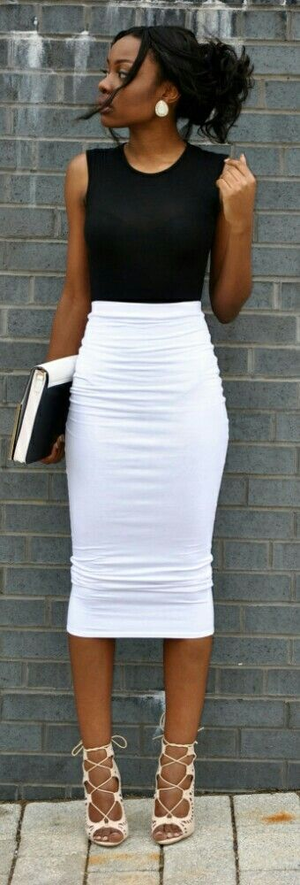 Black top, white tight midi skirt, purse. Street summer elegant women fashion outfit clothing style apparel @roressclothes closet ideas