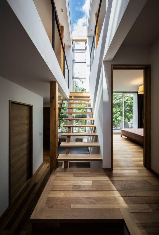 株式会社seki.design の モダンな 廊下&階段 クレバスハウス クレバスをイメージした階段ホール