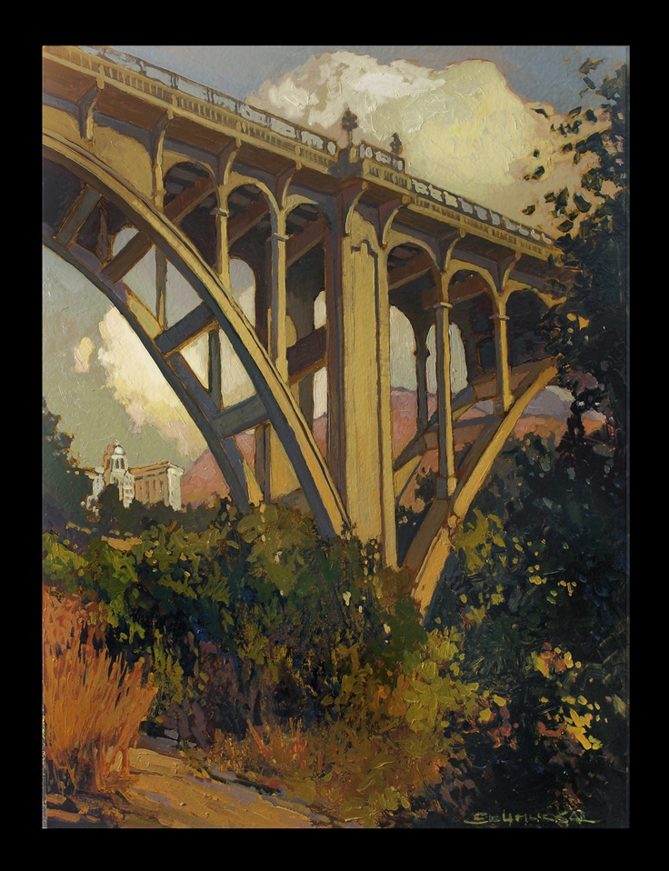 Colorado St. Bridge - Oil on Board - Jan Schmuckal - Courtesy of the Michele C. Clark Collection #schmuckal