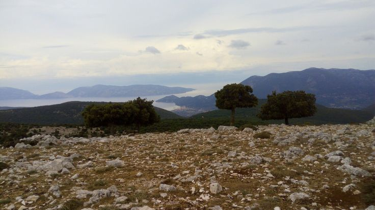 Views over towards Ithica from surrounding hills of Mount Ainos