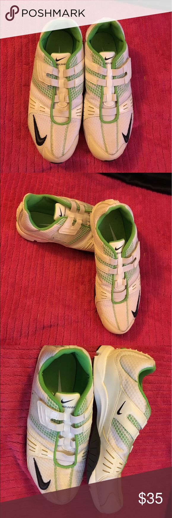 Ladies Nike running shoes size 8 Ladies Nike running shoes in a size 8. Only wore once, excellent condition. Done in lime green and white with Velcro instead is laces. Very comfortable and super light weight. Smoke free home. Thanks for the interest and God Bless Nike Shoes Athletic Shoes