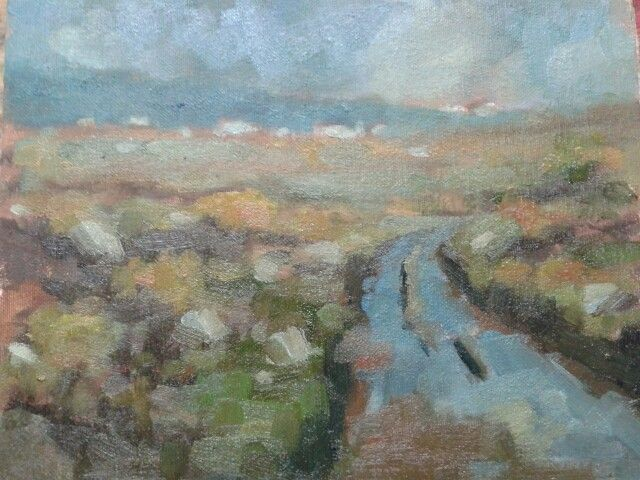 "A view towards meenacladdy donegal.oil on board.8""x10"" ."