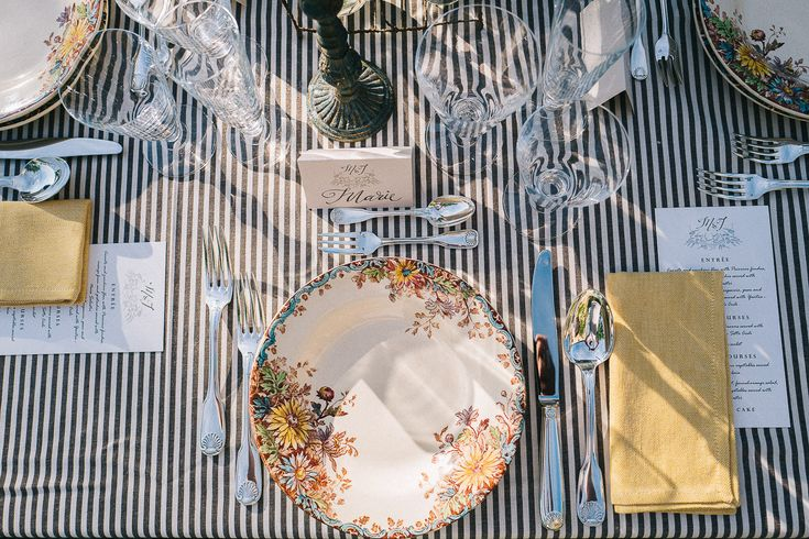 Tuscan Rustic Table Styling - Floral Print Wedding Dress by Anna Fuca   Tuscan Treehouse Bridal Inspiration Shoot   Images by Stefano Santucci