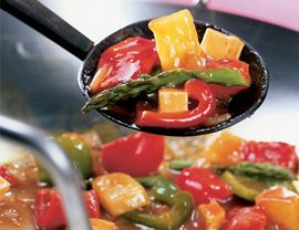 Because stir-frying is so fast, it's important to have all ingredients measured out and ready before you start cooking. MEAL PLAN: Prepare a 6-serving portion of quick-cooking brown rice to soak up the delicious sauce. A salad of sliced cucumber, watercress and yogurt would add a refreshing note to the meal.