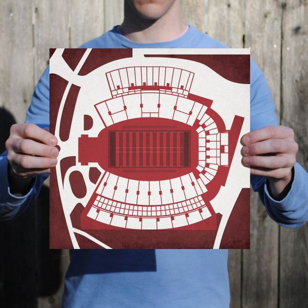 Davis Wade Stadium at Scott Field located at Mississippi State University in Starkville, Mississippi. | College football prints from City Prints put you back in the stands on Saturdays. City Prints look like modern art and remind you of the unforgettable moments you experienced in your favorite seats