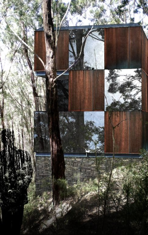Architects EAT—Puzzle House—A small 3-level getaway house sited on the steep hills of Skenes Creek forest. It was conceptualised from a 2.5m cube module, similarly to the notion of a traditional wooden block puzzle. The house has been designed to comply with the Victorian Bushfire codes using corten steel and structural glazing.
