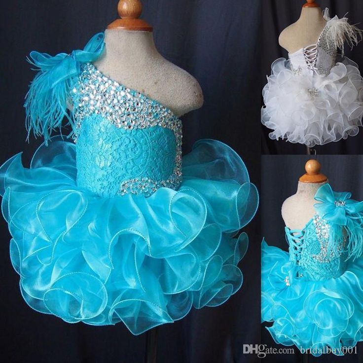 Toddler Pageant Dresses 2016 Blue One Shoulder Crystal Beaded Lace Organza Cupcake Gowns For Little Girls Feather Lace Up Kids Prom Dress Girl Occasion Dresses Girl Pageant Dress From Bridalbuy001, $65.95| Dhgate.Com
