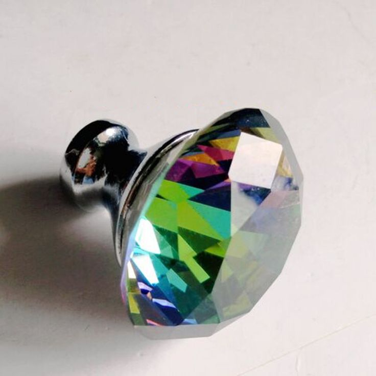 40mm clourful glass crystal furnuture decoration handle silver blue green red clear crystal drawer kitchen cabinet dresser knob