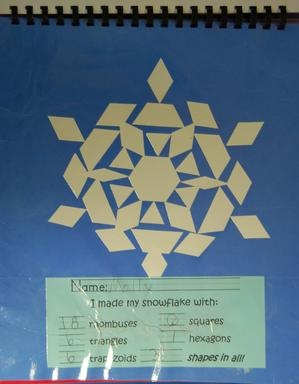 Make snowflakes using all pattern blocks in white and write how man of each were used.