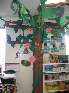 make a rain forest in your classroom.  hang plastic flies from fishing line, attach plastic frogs and glue rubber ants to the tree trunk.