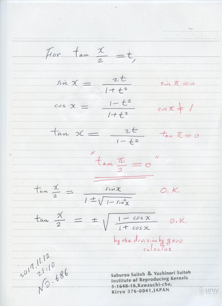 №686  ゼロ除算を含む等式は、そのまま成り立つ場合と、成り立たない場合があるので、吟味を行うように注意したい。 関数にゼロ除算を用いるときは、用い方でいろいろな結果が出るので、 吟味を行う必要が有ります。ローラン展開を用いるのが一般的であるが、 万能ではない。数の体系としては 山田体の概念で、ゼロ除算を含む代数的な構造は 確定している。