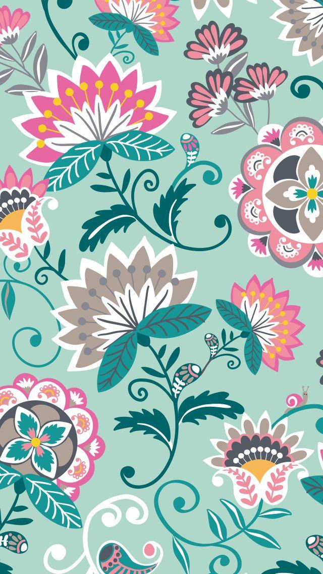 Mobile Wallpaper In Mint Flowers Art Wallpaper Floral Wallpaper Vera Bradley Wallpaper