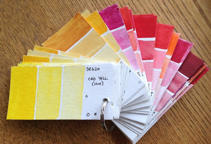 Make your own colour charts using your own watercolors. Note the brand, colour name and characteristics such as transparency and granulation. Small individual cards like this on thick watercolor paper can be held up to your subject to find the best colour match.  Judith Jerams
