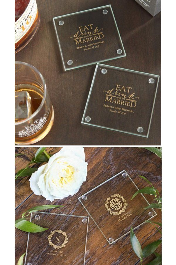 Personalized Glass Favor Coasters These Multi Functional Coasters Are A Great Way To D Wedding Coasters Favors Personalized Coasters Wedding Wedding Coasters
