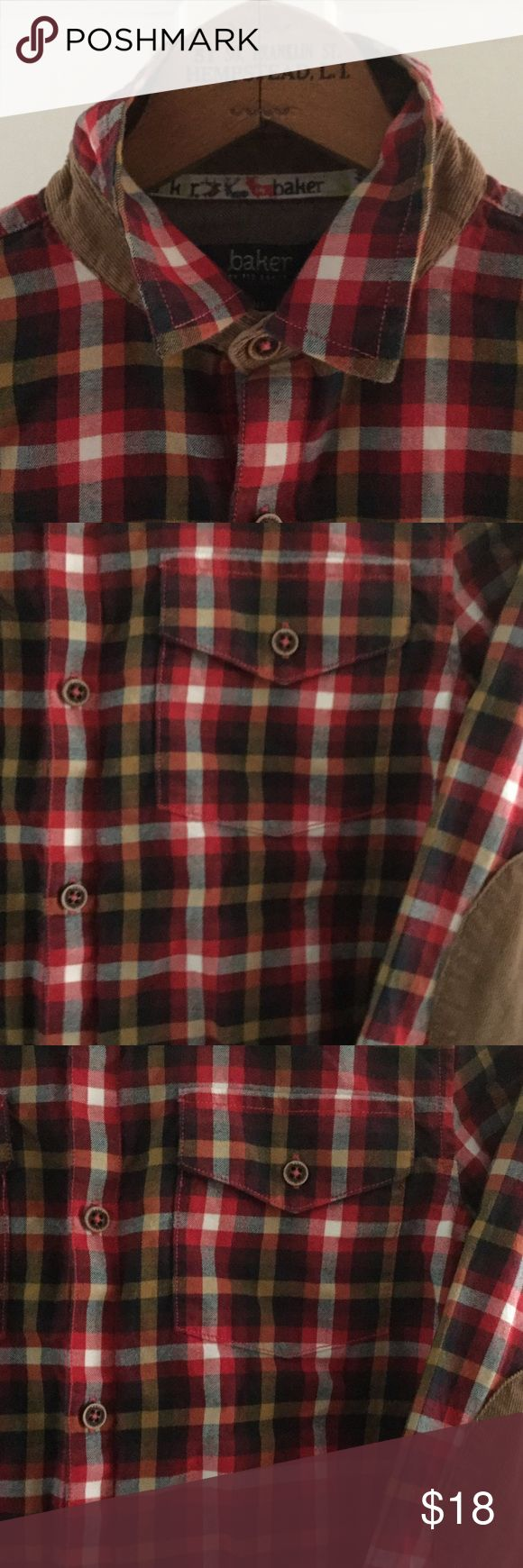 Ted Baker children's shirt. Wonderfully detailed plaid shirt with corduroy elbow patches and collar trim. Ted Baker Shirts & Tops Button Down Shirts
