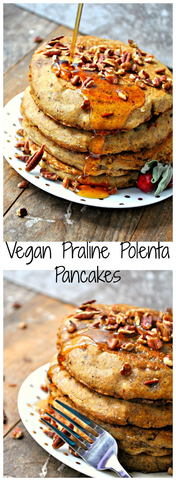 Crispy on the outside, moist and delicious inside. These vegan praline polenta pancakes are filled with brown sugar and pecans! They are unique and amazing!