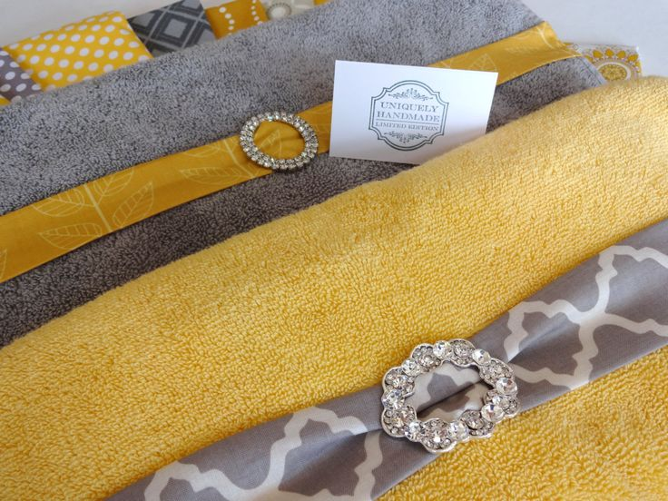 YOU PICK Custom Bling Yellow and Gray Towels custom by AugustAve, $24.00