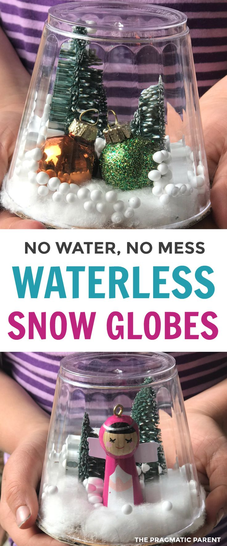 Create Your Own Waterless Snow Globes. Make it yourself snow globe. Make your own snow globe without water. Easy snow globe. DIY snowglobe. #waterlesssnowglobe #makeyourownsnowglobe #christmascrafts