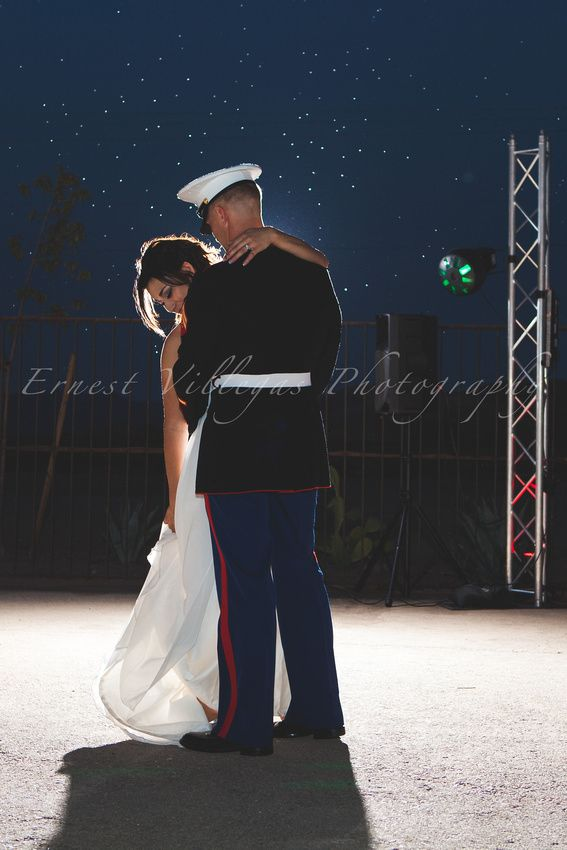 US Marine & Bride Night time Backlit Stars Beautiful Wedding in Yuma Arizona at From the Farm Photographer Ernest Villegas www.ErnestVillegas.com