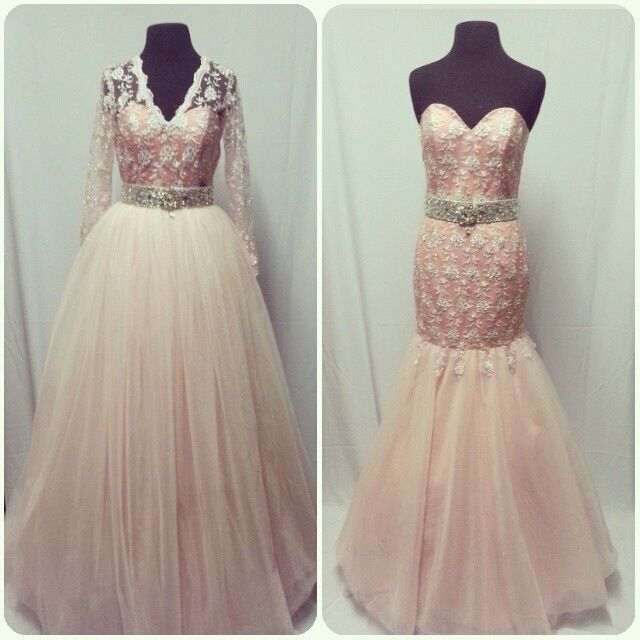 My wedding dress! Bolero and balloon skirt can be removed to transform into a mermaid gown during reception!