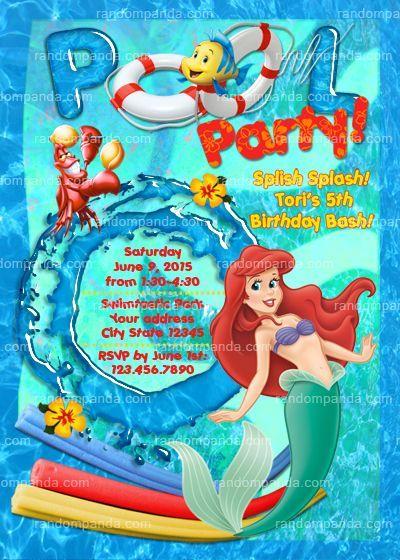 Little Mermaid Pool Party Invitation Ariel Birthday