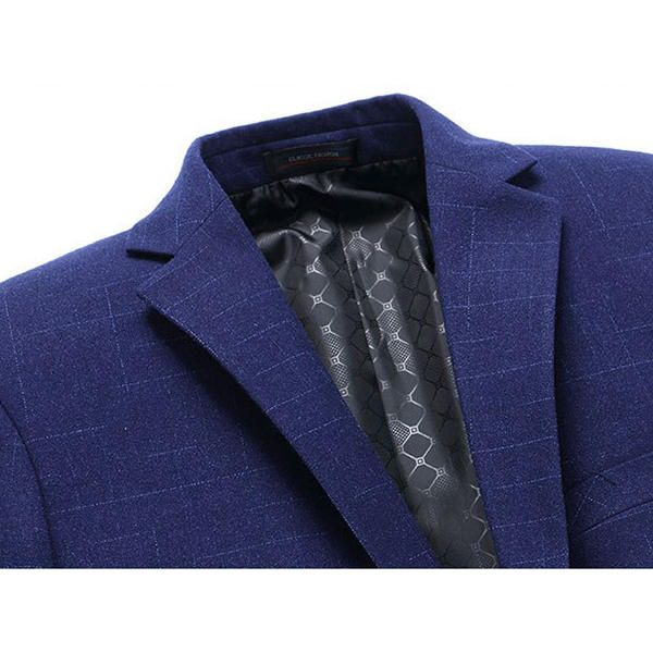 Mens Royal Blue Slim Fit Business Casual Lapel Collar Chest Pocket Coat Two Button Suit at Banggood