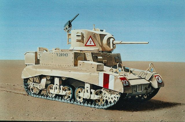 "US M-3 ""Stuart"" light tank in British service in North Africa. It was often referred to as ""Honey""."