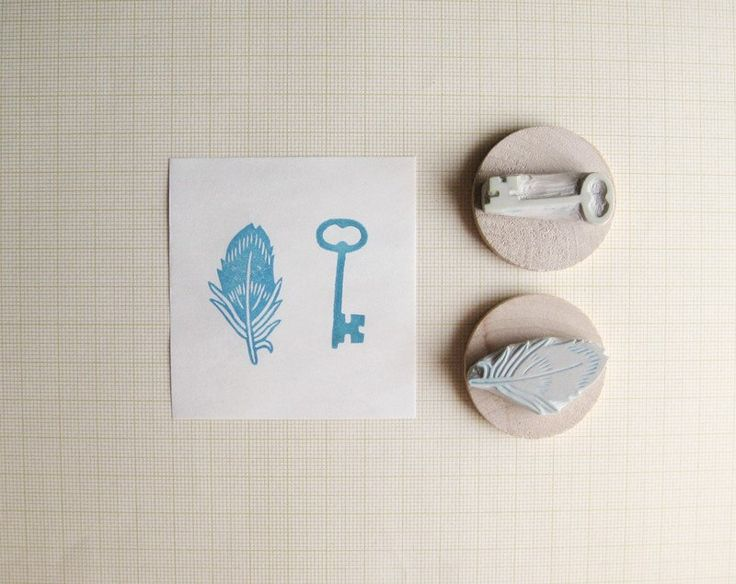 Tiny Key and Feather Hand Carved Stamp Set (14.00 USD) by extase