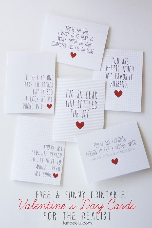 Printable Funny Valentine's Day Cards  |  landeelu.com   Your hubby will love these!