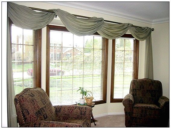 Possibly drapey option bay window pinterest window for Ideas for bay window treatments