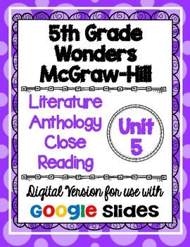 Are you ready to go paperless in your classroom? I have converted one of my best selling products to a DIGITAL version that can be used with Google Classroom! This resource is based on the 5th grade Wonders McGraw-Hill reading series. This is a weekly activity that I like to use when teaching the story in the Literature Anthology book.