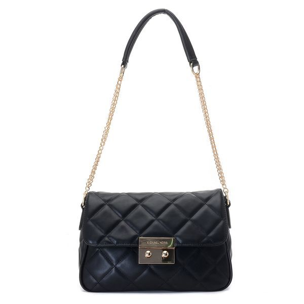 MICHAEL Michael Kors Large Sloan Quilted Shoulder Bag Black Gold