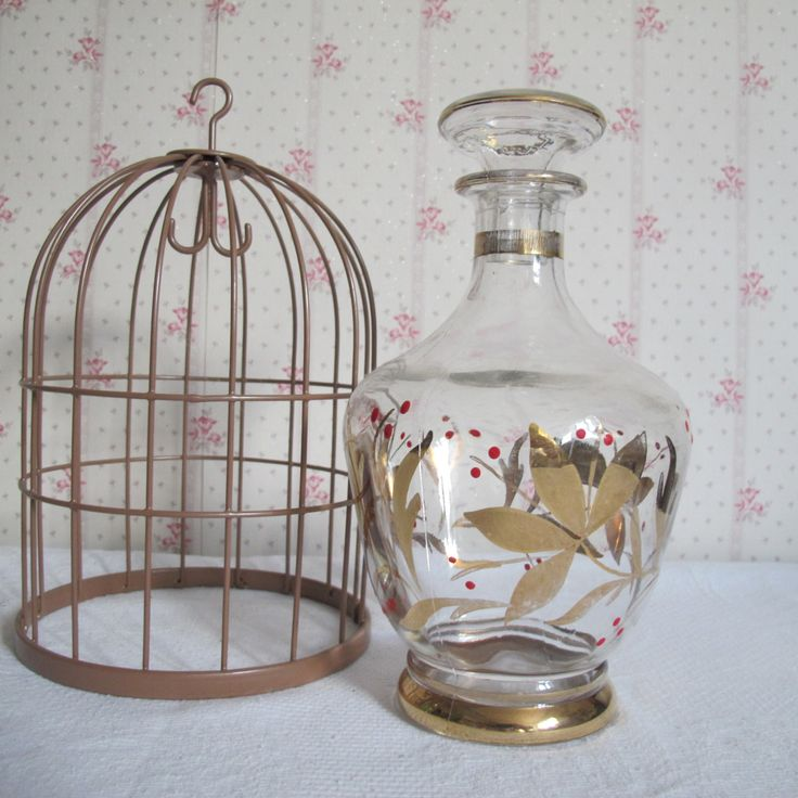 ART DECO Carafe à vin vintage en cristal dorée et points rouges peints à la main avec bouchon 1950 - France - décanteur - carafe à liqueur de la boutique CrazyFrenchVintage sur Etsy