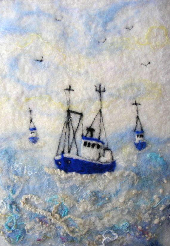 Three Blue Boats on a Big Blue Sea. Handfelted by joyfeltcreations, $95.00