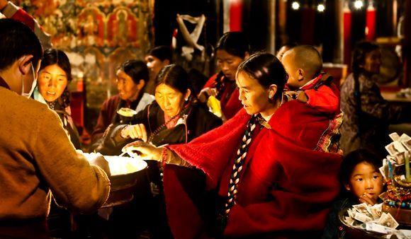 Pilgrims Celebrating at Johkhang Temple