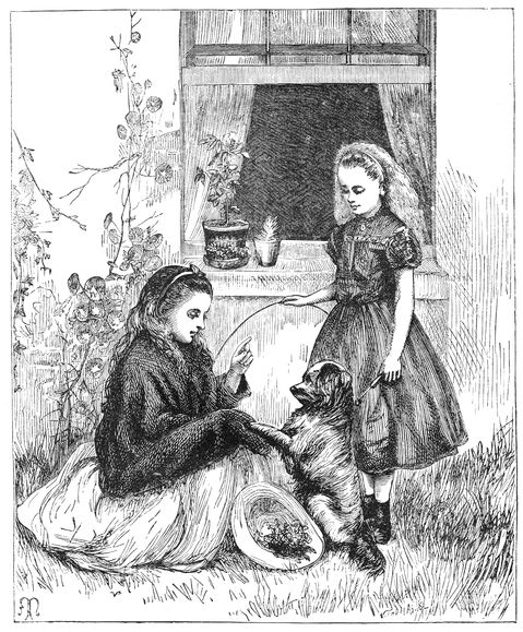 Vintage drawing of two girls with a little dog.