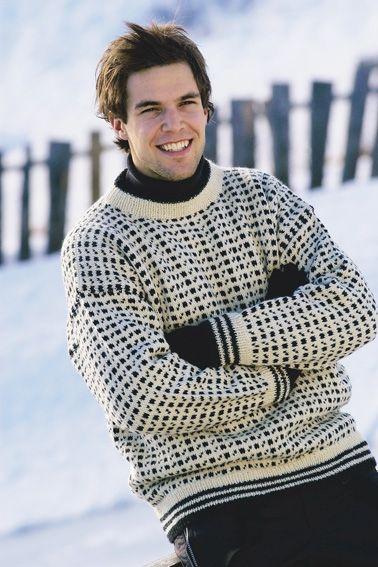 Strikkeopskrift på herresweater med flot mønster   Lun sweater til ham   Fin kombination af teknik og farve   Håndarbejde
