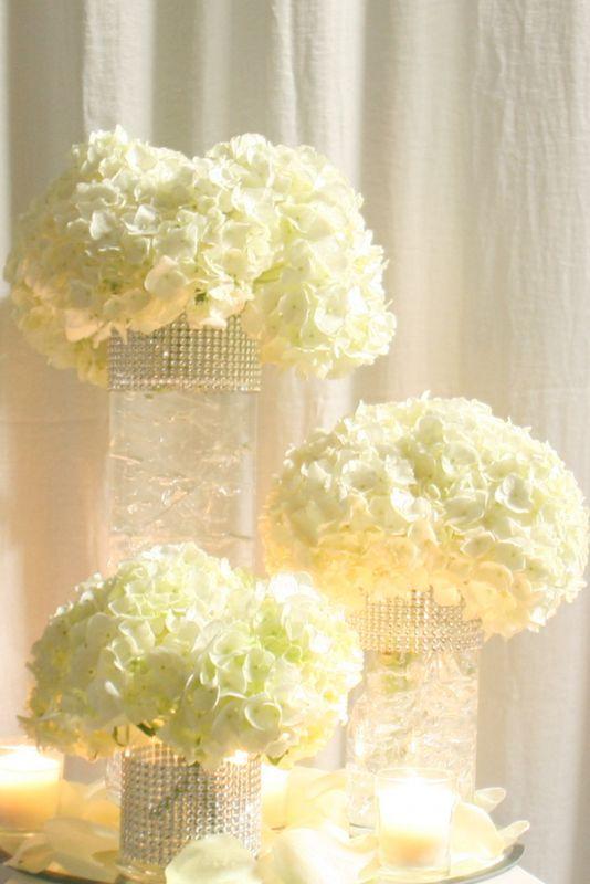 White hydrangeas wedding reception centerpieces and