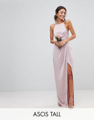 9b75ff680298 DESIGN Tall Bridesmaid drape front strappy back maxi dress