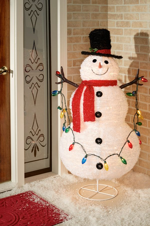 Warm Winter Greetings Are Implied With The Collapsible Lighted Snowman S Cheery Smile This Indoor Snowman Outdoor Decorations Outdoor Lighted Snowman Snowman