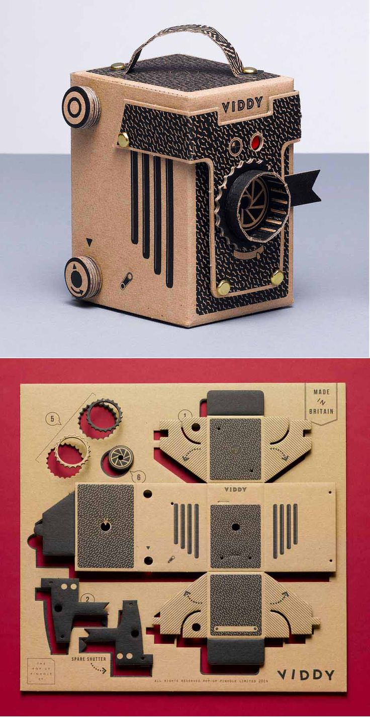VIDDY is a do-it-yourself pinhole camera kit made from tough, durable recycled card. It accepts both medium format and 35mm film.