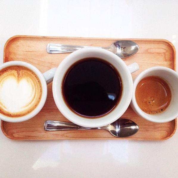 Single Origin tasting flights: filter, espresso, macchiato.