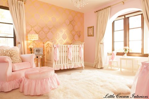 pink and gold girls glamorous nursery