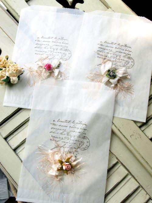 French Script Glassine Bags