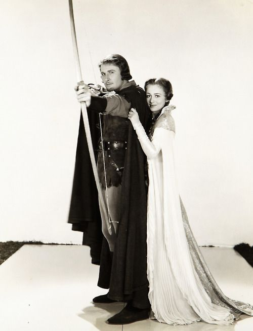 Errol Flynn and Olivia De Havilland, 1938. The Adventures of Robin Hood.