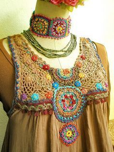 Combining crochet with fabric ~ *Inspiration! Would look really cute if you topped a skirt with sleeves and collar!
