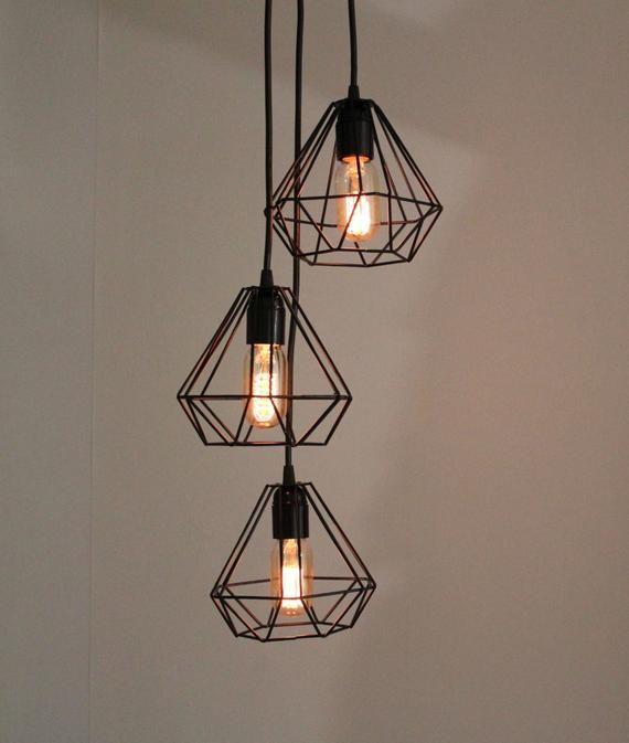 Lustre Grappe Lampe Lampe De Diamant Triple Cage Grappe De Etsy Caged Lamp Metal Lamp Pendant Lamp