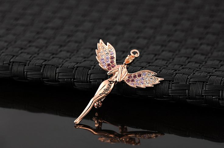 18K Rose Gold Plated Angel Brooches With Austrian Crystal Stellux