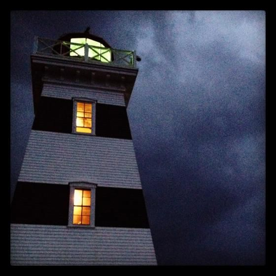 West Point lighthouse as a storm rolls in