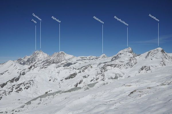 38 peaks over 4 000 m. The mountain chain with Switzerland's highest peaks.